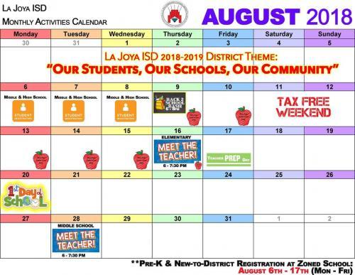 August 2018 LJISD Calendar