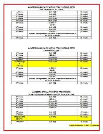 2017-2018 AHSP-STEM Bell Schedules