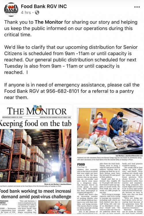 Food Bank for Seniors information 2/2