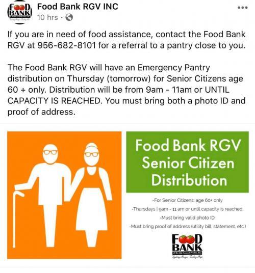 Food Bank for Seniors information 1/2