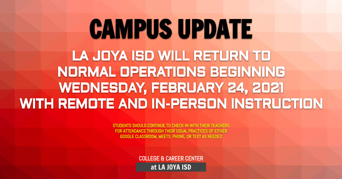 Back to normal operating schedule on 2/24/2021 for online and in-person instruction
