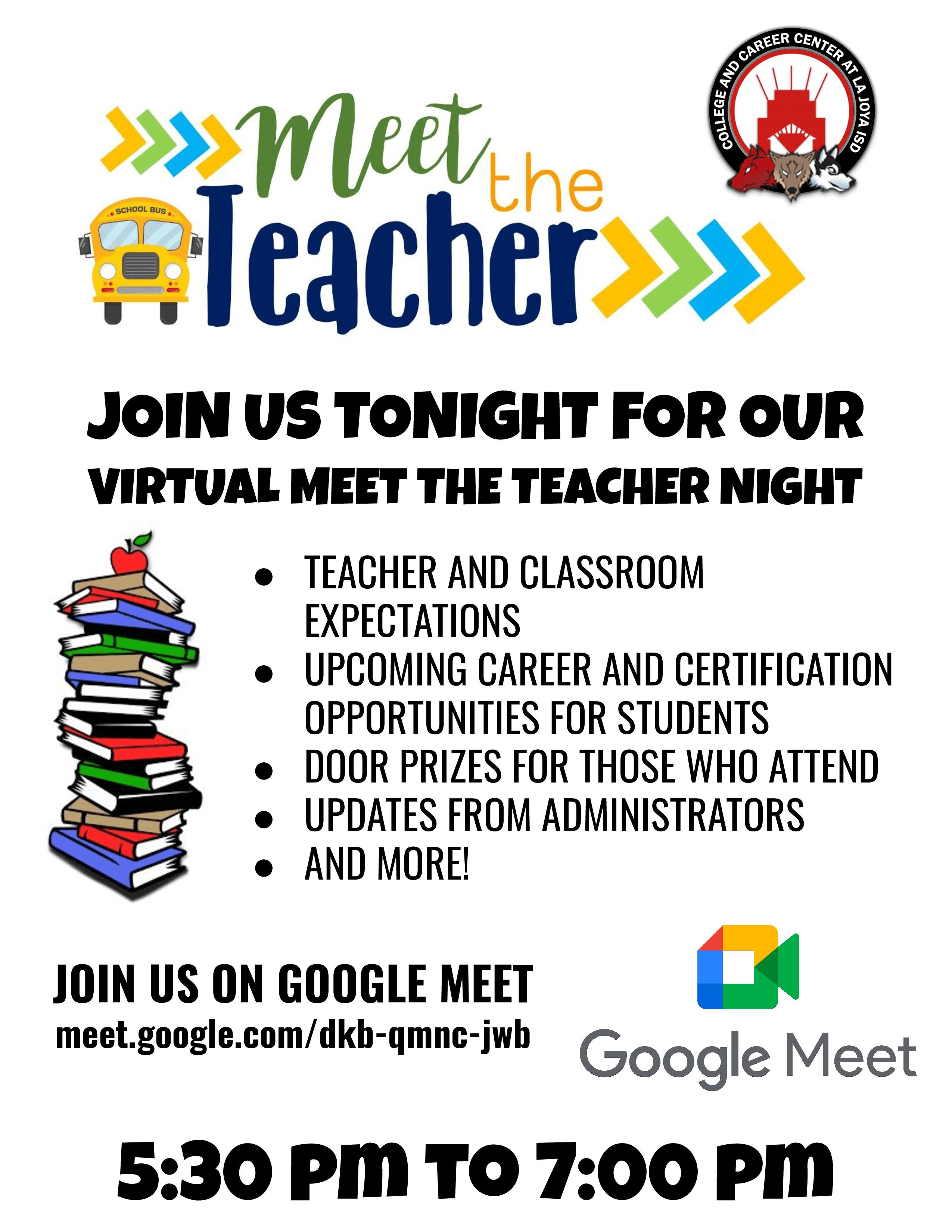 9/7/21 CCC Meet the teacher night Google Meet link meet.google.com/dkb-qmnc-jwb