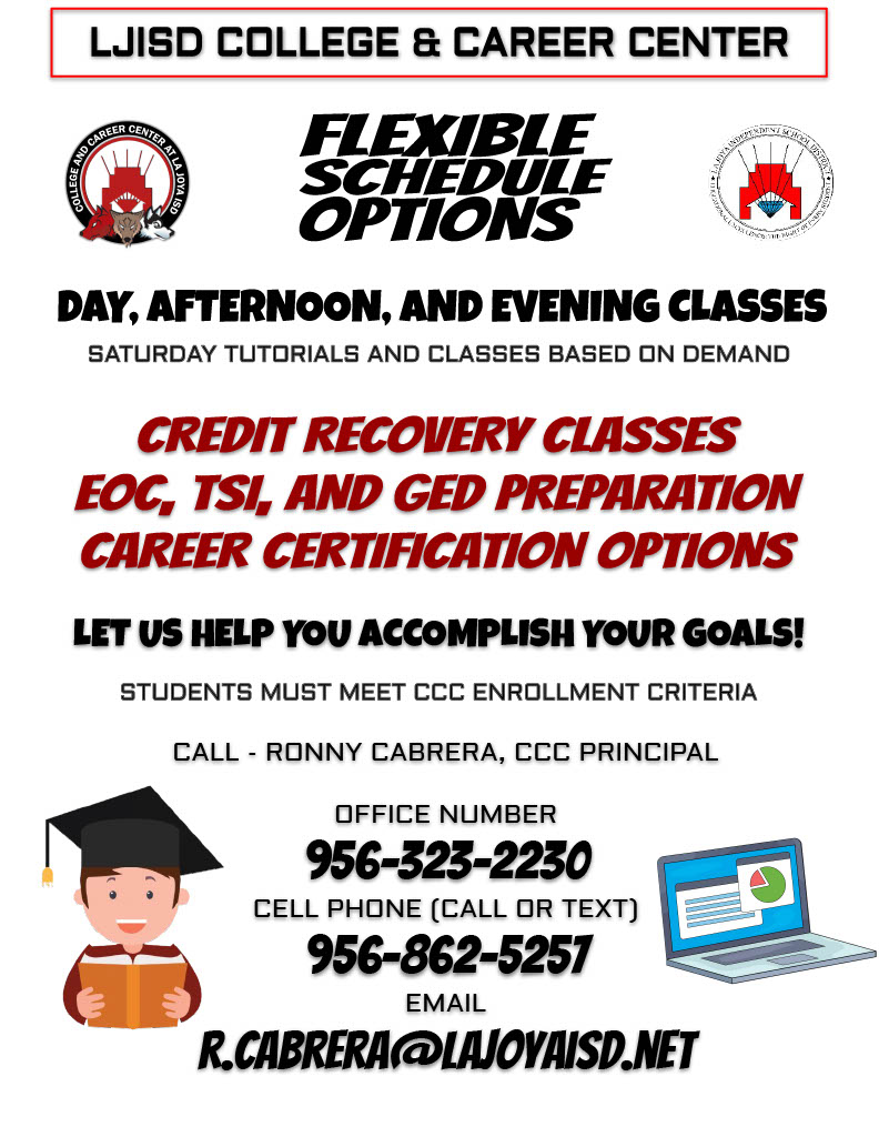 Flexible schedule options day afternoon, and evening classes call Ronny Cabrera CCC Principal Office Number 9563232230 Cell Phone 9568625257