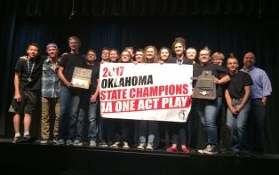 4A State Champs in One Act, picture of cast with banner & awards