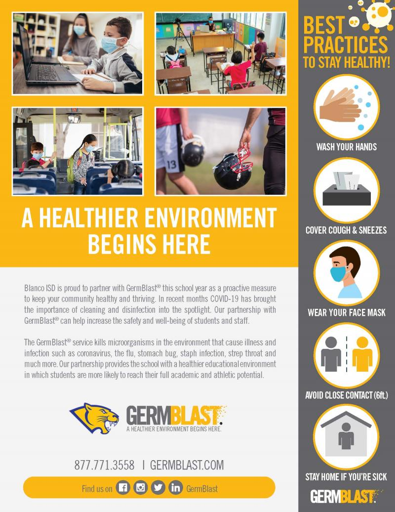 Blanco ISD Partners with GermBlast