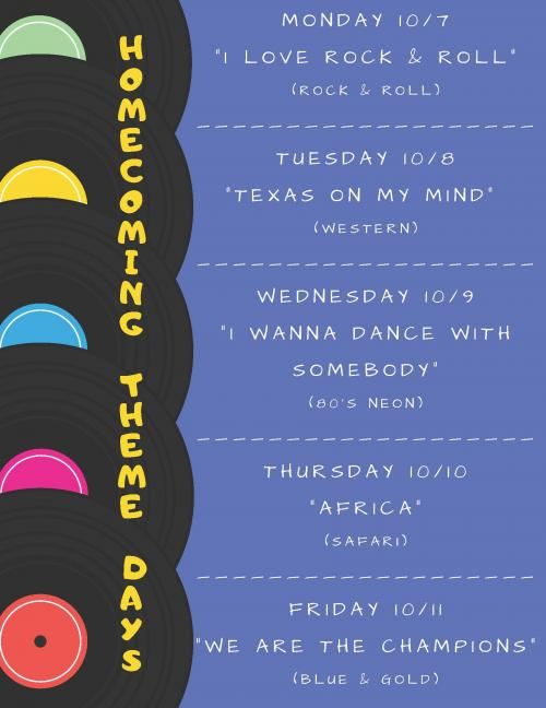 HOMECOMING THEME DRESS UP DAYS