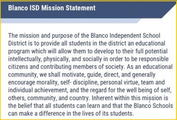 BLANCO ISD MISSION STATEMENT