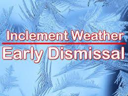 inclement weather announcement early dismissal