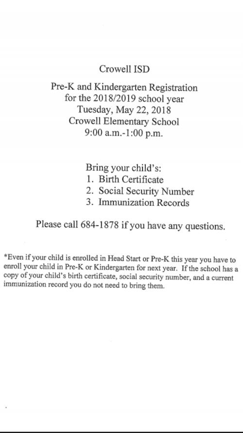 2018-2019 Pre-K and Kindergarten Registration English
