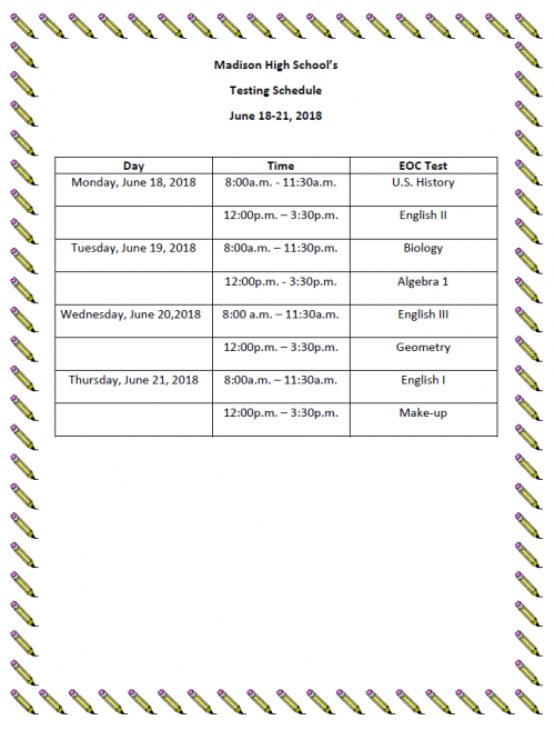 Madison High Testing Schedule