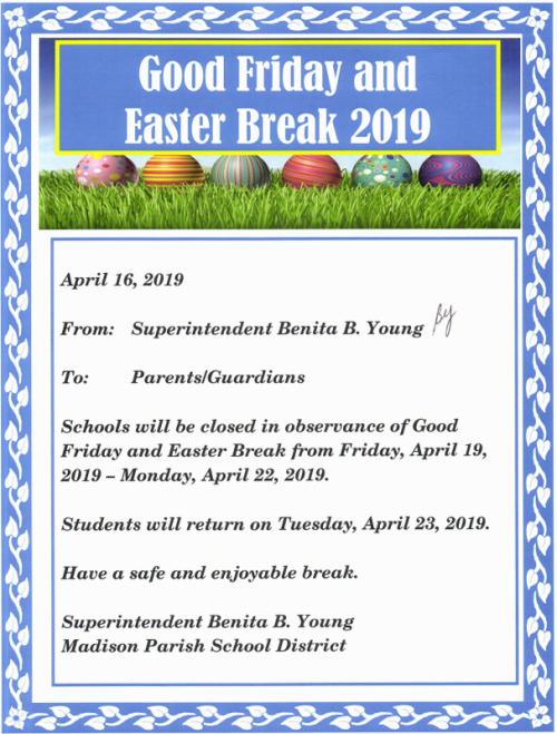 Good Friday Easter Break