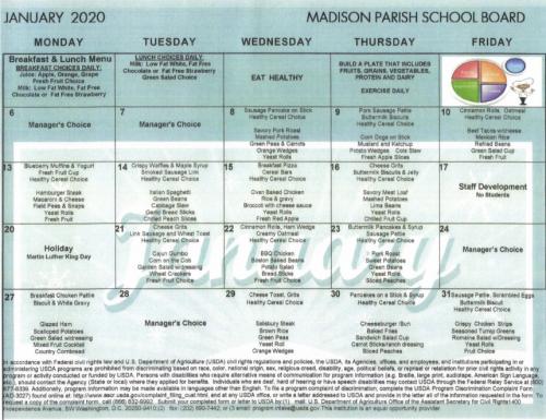 January 2020 Lunch Menu