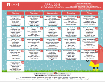 April Lunch Elementary