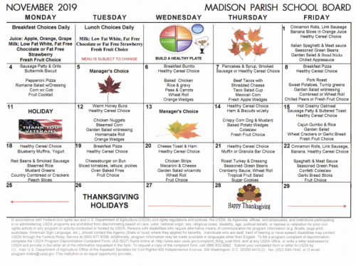 November 2019 Lunch Menu