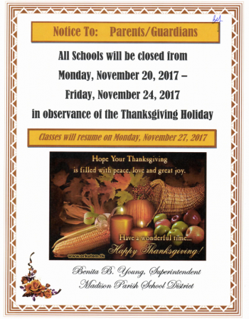 Thanksgiving Break Notice
