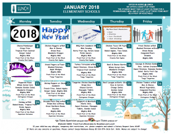 January 2018 Elementary Lunch