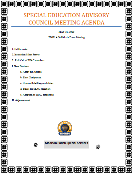 Advisory Counsel Agenda