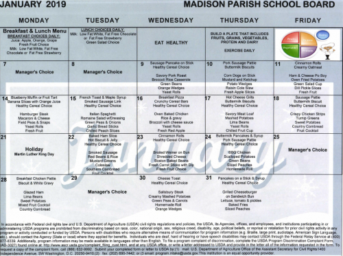 January 2019 Lunch Menu