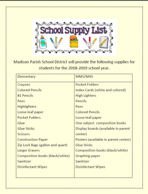 MPSB School Supplies Provided