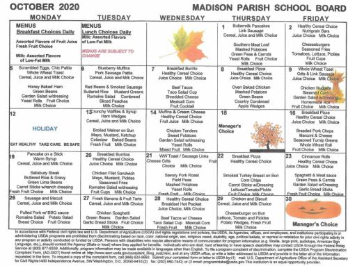 October 2020 Menu