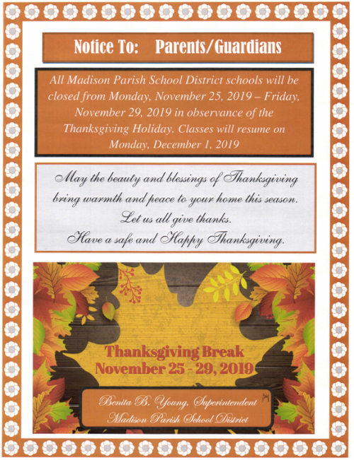 Thanksgiving Holiday Flyer 2019
