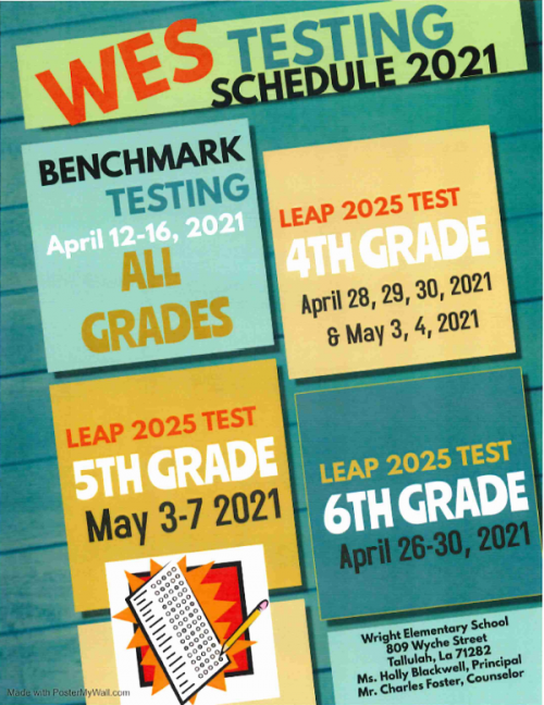 WES Testing Schedule