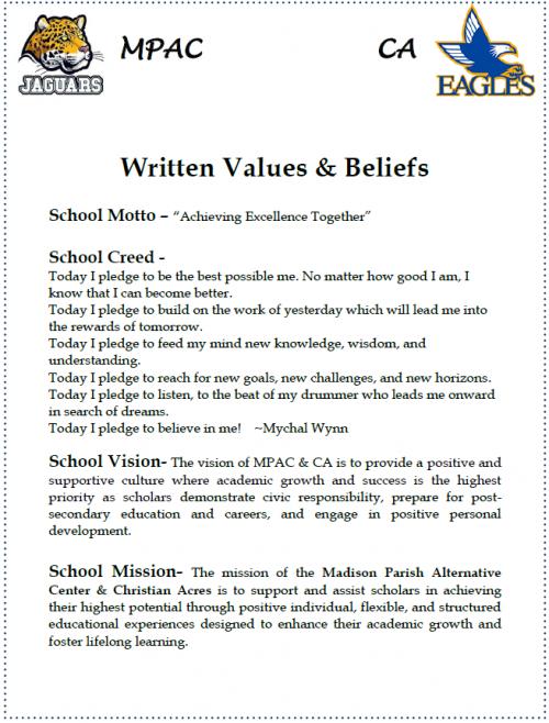 Written Values and Beliefs