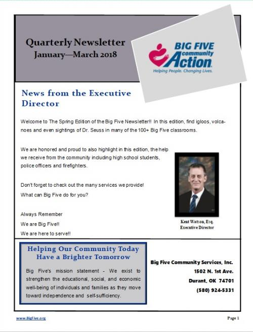 1st Quarter Newsletter 2018
