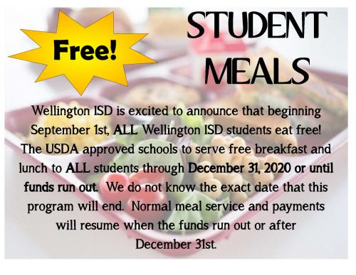 Free Student Meal Notice