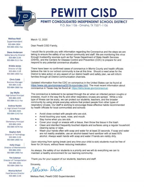 pewitt website letter