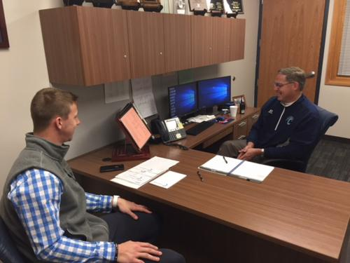 Shown below is Mr. Hubener receiving the conference phone call from Dr. Randy Watson, Commissioner of Education for Kansas congratulating him on his selection.
