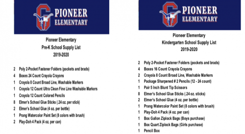 Pioneer School Supply Lists