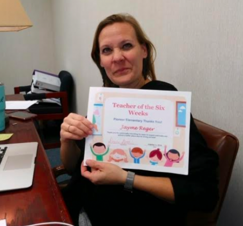 Congratulations Jayme Reger, Teacher of the First Six Weeks