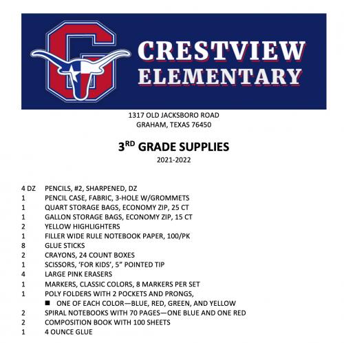 3rd Grade School Supply List