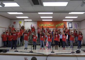 Still shot from fifth grade play