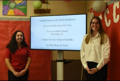Alexis Rodriguez and Isabella Hansen won 3rd place at state FCCLA with their Chapter Service Project Portfolio.