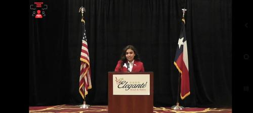 Emily Rodriguez was recognized as an outgoing Region 1 VP of Finance Officer.