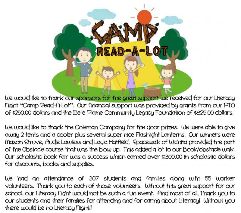 Camp Read-A-Lot Thank you
