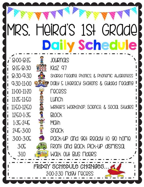 Mrs. Heird's Daily Schedule