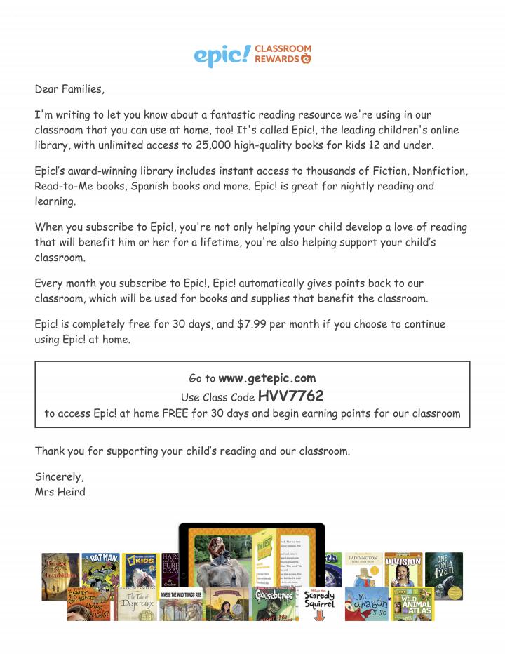 epic parent letter