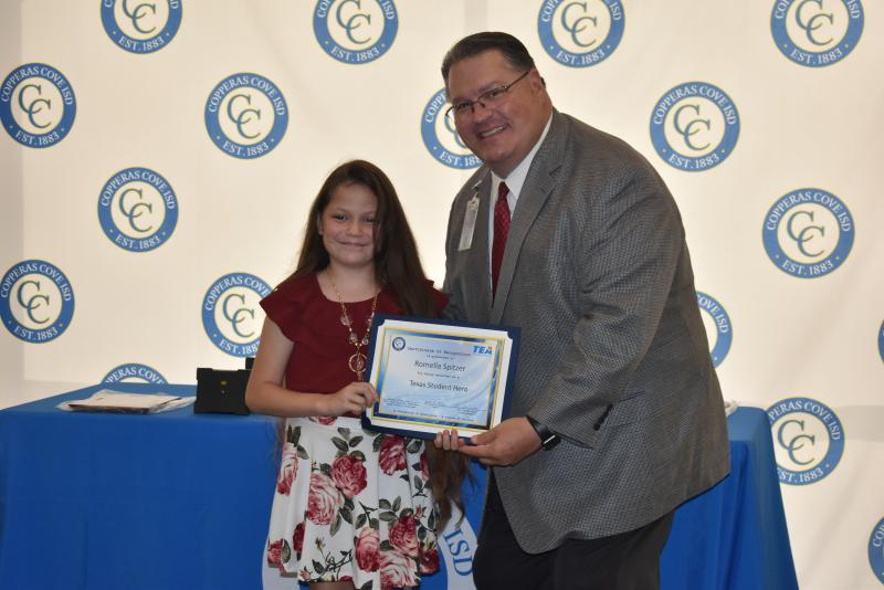 Cove 5th grader selected as Texas Student Hero