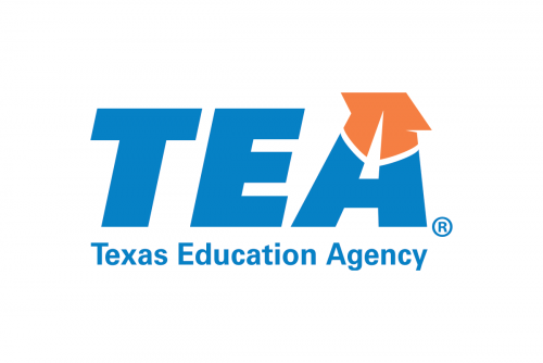 Texas Education Agency Logo. White Background. TEA letters in Teal with orange graduation cap on the A. Spelled our Texas Education Agency below