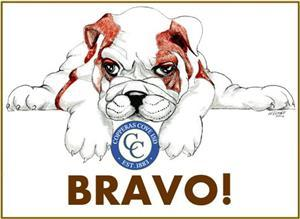 Bulldawg Bravo Logo - Drawing of bulldog and CCISD Logo