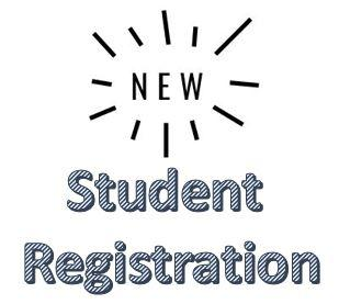 Image with the word New inside a burst and the words Student Registration below it