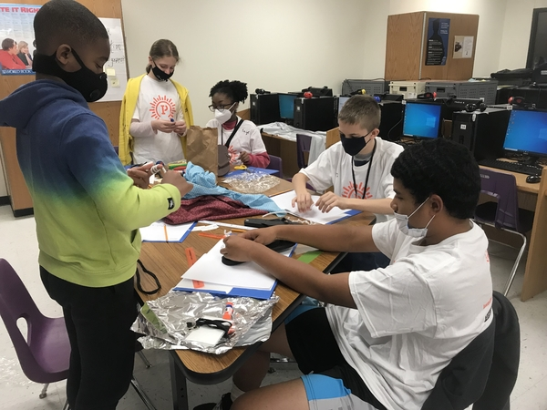 STEM Camp Day 2 - Students work on their Extreme Shoe
