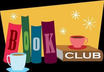 Book Club Logo - Books with Cups & Saucers