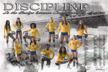 Team photo with text reading: Discipline is the bridge between commitment and skill