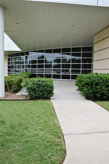Exterior of Lea Ledger Auditorium and entrace walkway