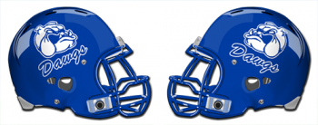 A pair of football helmets facing each other with the Dawgs team logo