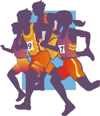 Clip art of a group of runners wearing racing numbers